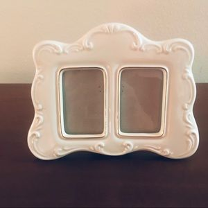 White Porcelain China Double Picture Frame